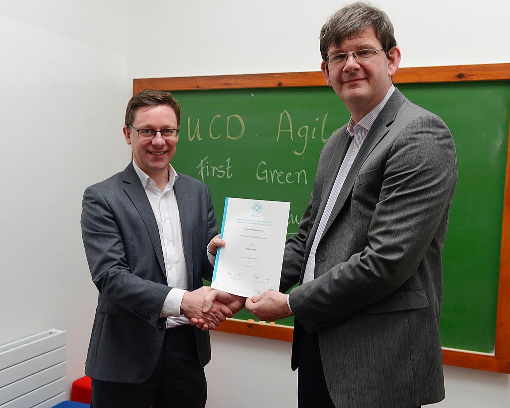 UCD Agile presentation of Green Belt QQI certificate from SQT by UCD Registrar Professor Mark Rogers to Liam Cleere