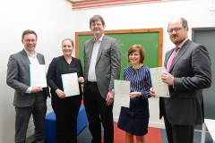 UCD Agile presentation of Green Belt QQI certificate from SQT by UCD Registrar Professor Mark Rogers