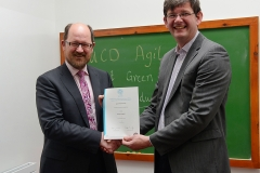 UCD Agile presentation of Green Belt QQI certificate from SQT by UCD Registrar Professor Mark Rogers to Michael Sinnot