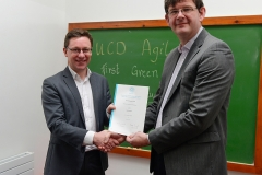 UCD Agile presentation of Green Belt QQI certificate from SQT by UCD Registrar Professor Mark Rogers to Liam Cleere