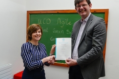 UCD Agile presentation of Green Belt QQI certificate from SQT by UCD Registrar Professor Mark Rogers to Marian O'Connor
